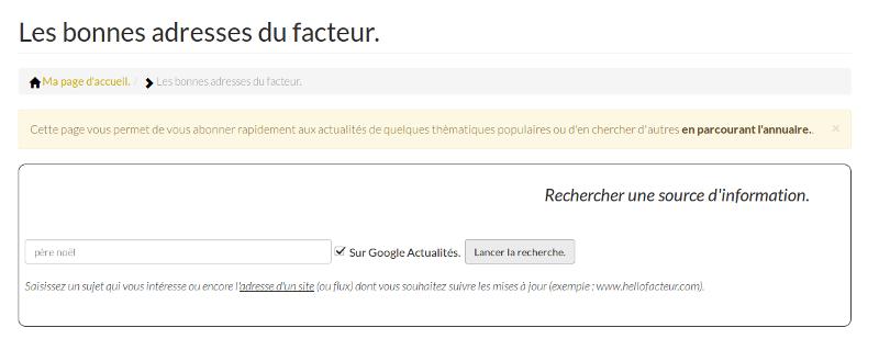 moteur de recherche Google Actualités sur Hello facteur