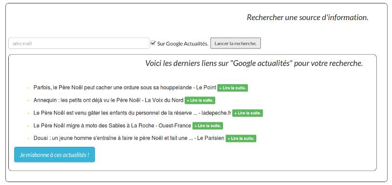 """résultats de recherche """"père noël"""" sur Google Actualités."""