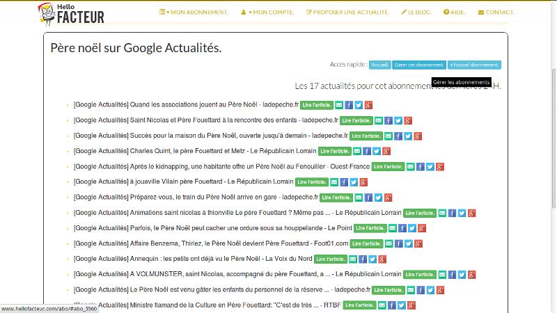 visualisation d'un abonnement Google Actualités pour 2 mots-clés différents, ici : père noël + père fouettard :-)